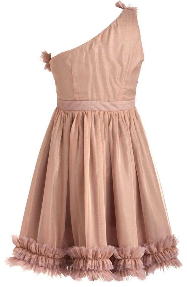Fleur De Frills Dress Peach One Shoulder Bridesmaid
