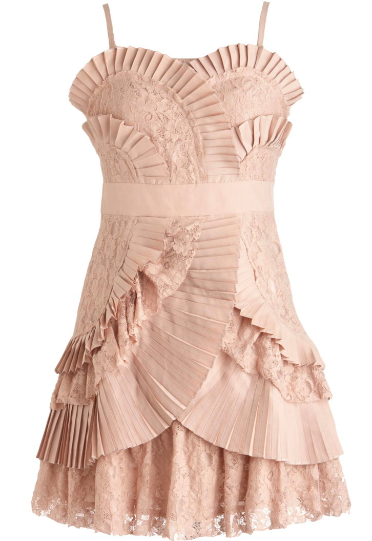 Dusty Pink Pleated Short Bridesmaid Dress