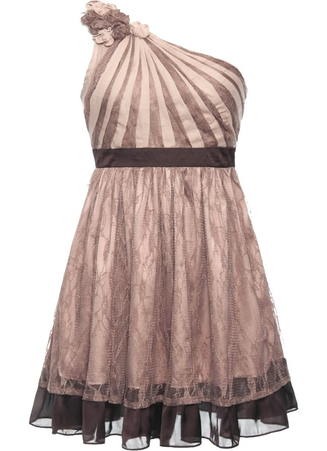 One Shoulder Mocha Beige Short Bridesmaid Dress