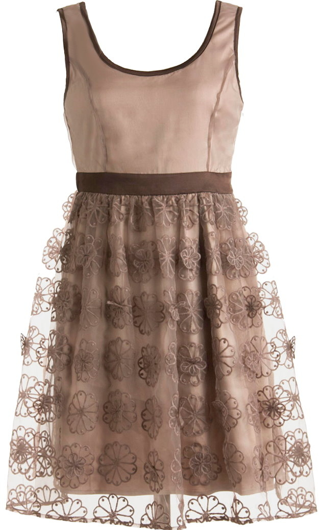 Brown Lace Embroidered Bridesmaid Dress