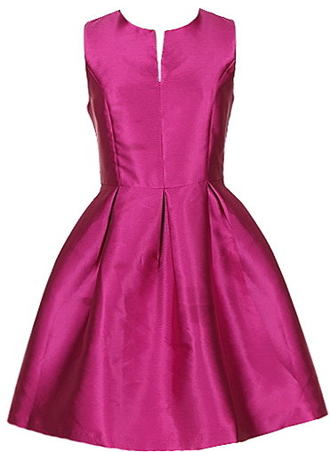 Magenta Pink Satin Knee-Length A-Line Party Dress