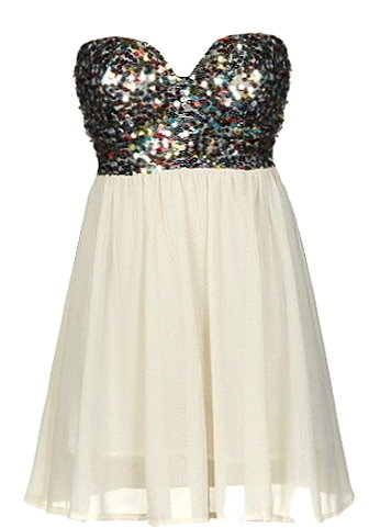 Strapless Ivory Sequin Sweetheart Short Party Dress
