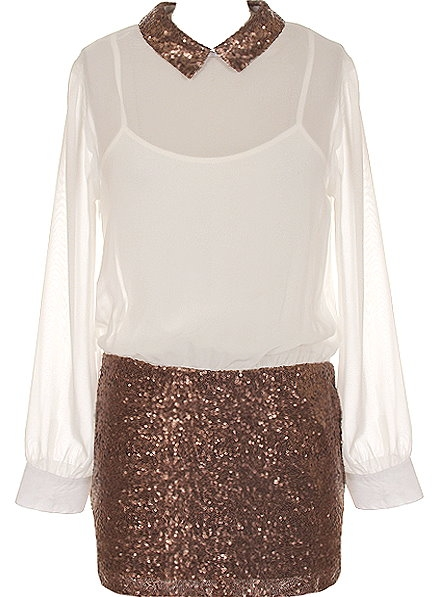 Ivory Chiffon Bronze Sequin Peter Pan Collar Dress