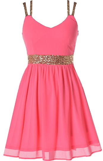 Neon Pink Chiffon Gold Sequin Skater Dress