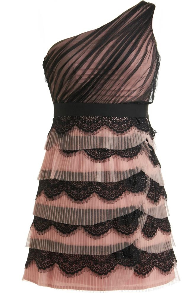 Pink Black One-Shoulder Tiered Lace Homecoming Dress