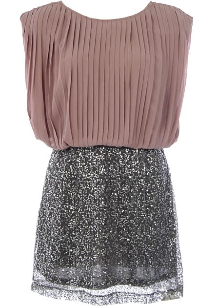 Chiffon Silver Sequin Skirt Party Dress