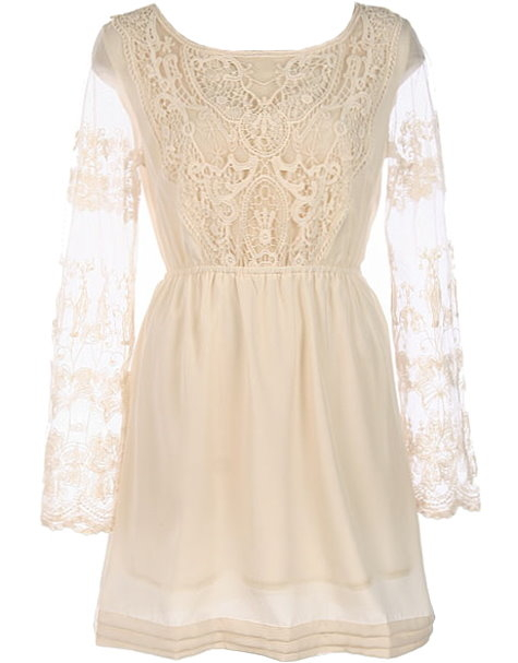 Ivory Lace Long-Sleeve Crochet Applique Short Juniors Dress