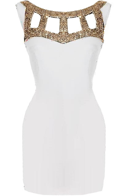 White Gold Cut Out Cap Sleeve Bodycon Dress