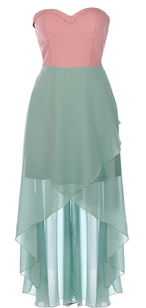 Strapless Pink Mint High Low Chiffon Maxi Dress