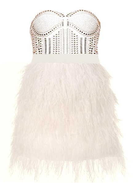 Strapless White Embellished Ostrich Feather Dress