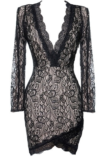 Sexy Black Lace Long-Sleeve Plunge Neck Bodycon Dress