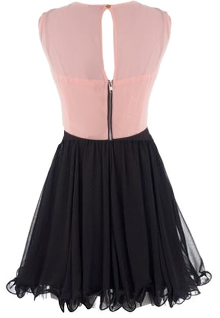 Pink Black Fit And Flare Sequin Skater Dress