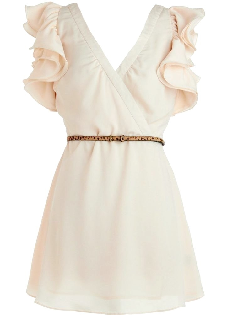 Ivory Ruffle Sleeve Short Bridesmaid Dress