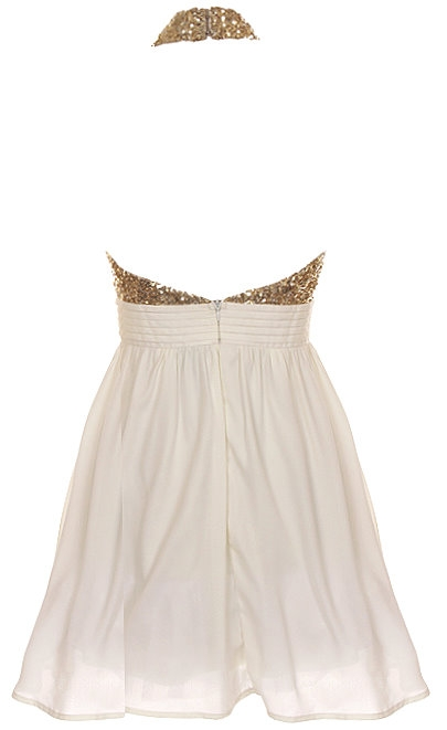 Gold Sequin Halter Neck Chiffon Party Dress