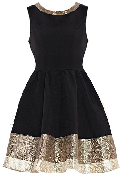 Metallic Hem Dress Black Gold Holiday Skater Dresses