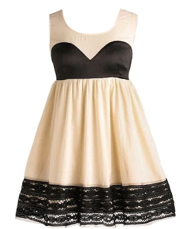 Ivory Black Sweetheart Empire Waist A-Line Dress