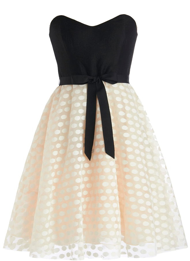 Strapless Sweetheart Black Ivory Bow-Waist A-Line Dress