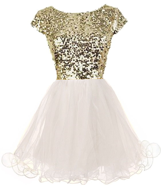 Gold Sequin Cap Sleeve White Tulle Princess Prom Dress