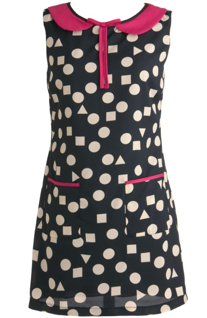 Black White Polka Dot Peter Pan Collar Shift Dress