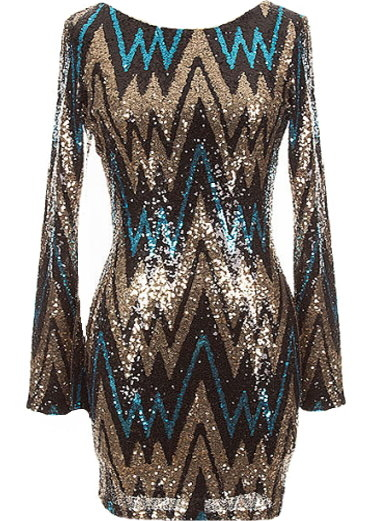 Gold Chevron Sequin Long-Sleeve Bodycon Party Dress