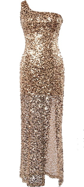 Gold Sequin One-Shoulder Maxi Bridesmaid Dress