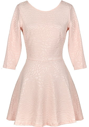 Light Pink Textured Half-Sleeve Short Casual Dress