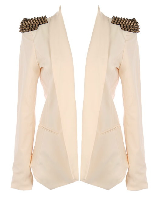 Ivory Cream Beige Embellished Studded Shoulder Blazer Jacket