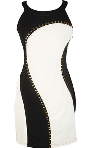 Black White Paneled Studded Bodycon Dress