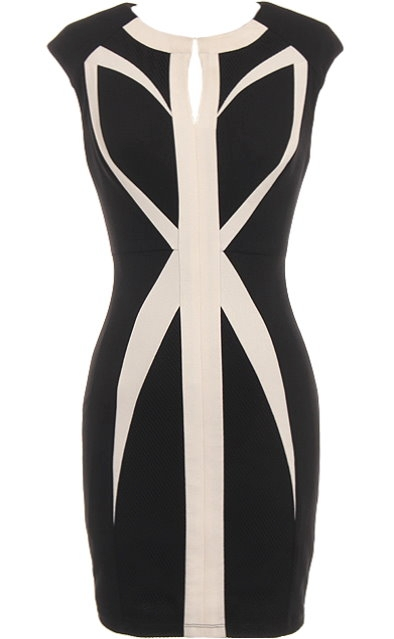 Black Beige Geometric Paneled Short Bodycon Dress
