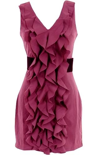 Rippled Raspberry Dress