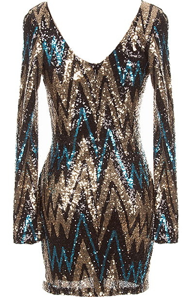 Party Starter Dress Black Chevron Sequin Long Sleeve