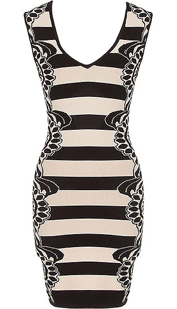 Beige Black Printed Knit Bodycon Dress
