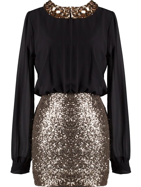 Black Chiffon Gold Sequin Peter Pan Collar Long Sleeve Dress