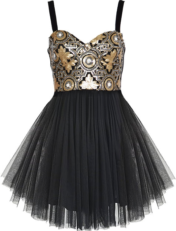 Black Gold Metallic Sequin Mesh Tutu Homecoming Dress