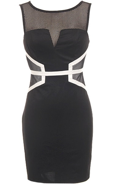 Black Mesh White Geometric Bodycon Dress