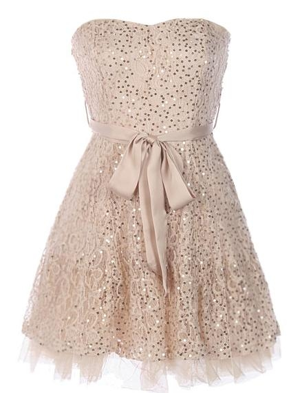 Strapless Beige Tulle Homecoming Prom Dress