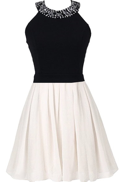 Black White Bow-Back Skater Dress