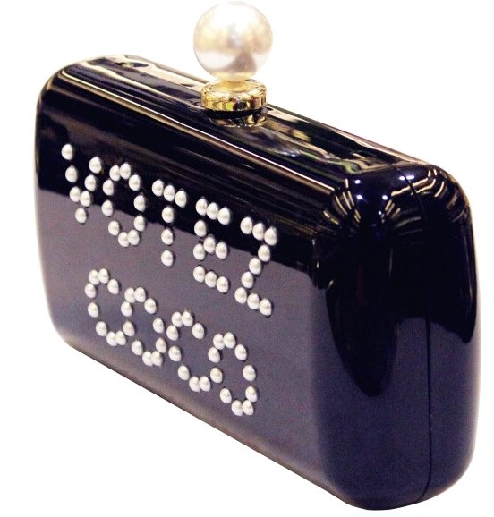 Black Coco Chanel Acrylic Clutch