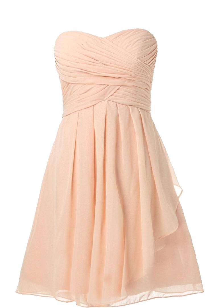 Strapless Pink Pleated Chiffon Bridesmaid Dress