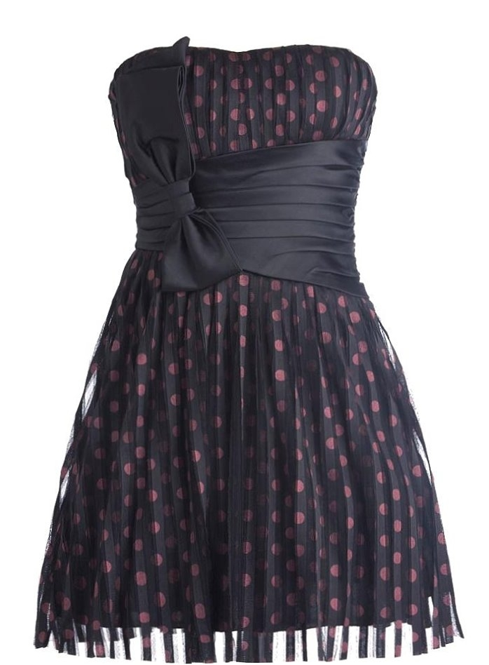 Strapless Navy Blue Polka Dot Homecoming Dress