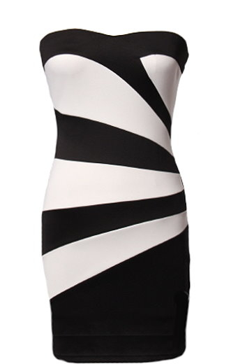 Strapless Black White Geometric Mini Clubbing Dress
