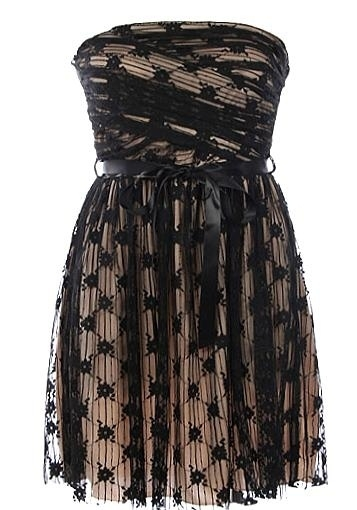 Strapless Black Mesh Ribbon Sash Mini Dress