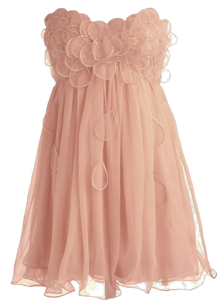 Strapless Peach Petal Applique Silk Chiffon Bridesmaid Dress