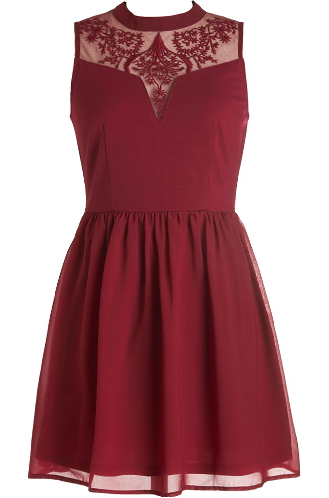 Burgundy Red Lace Mesh Sweetheart Short Skater Dress