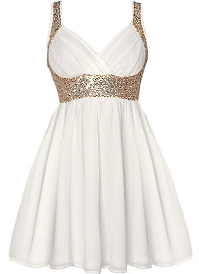 White Gold Sequin Strap Chiffon Skater Dress