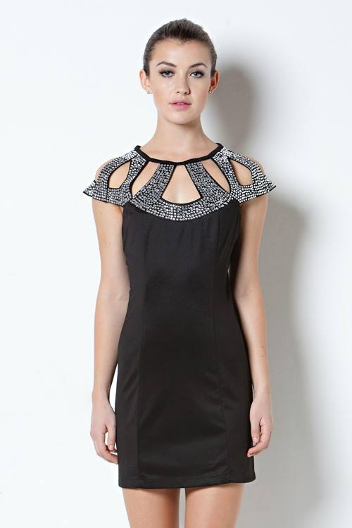 Beaded Armor Dress Studded Black Cutout Embellished