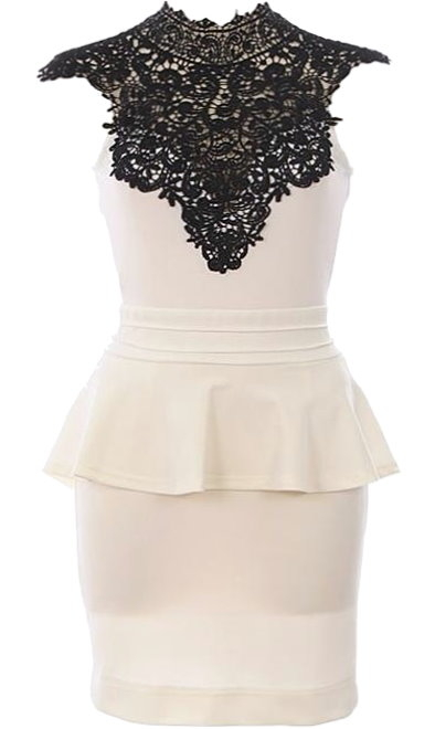 Cream Black Crochet Neck Peplum Bodycon Dress