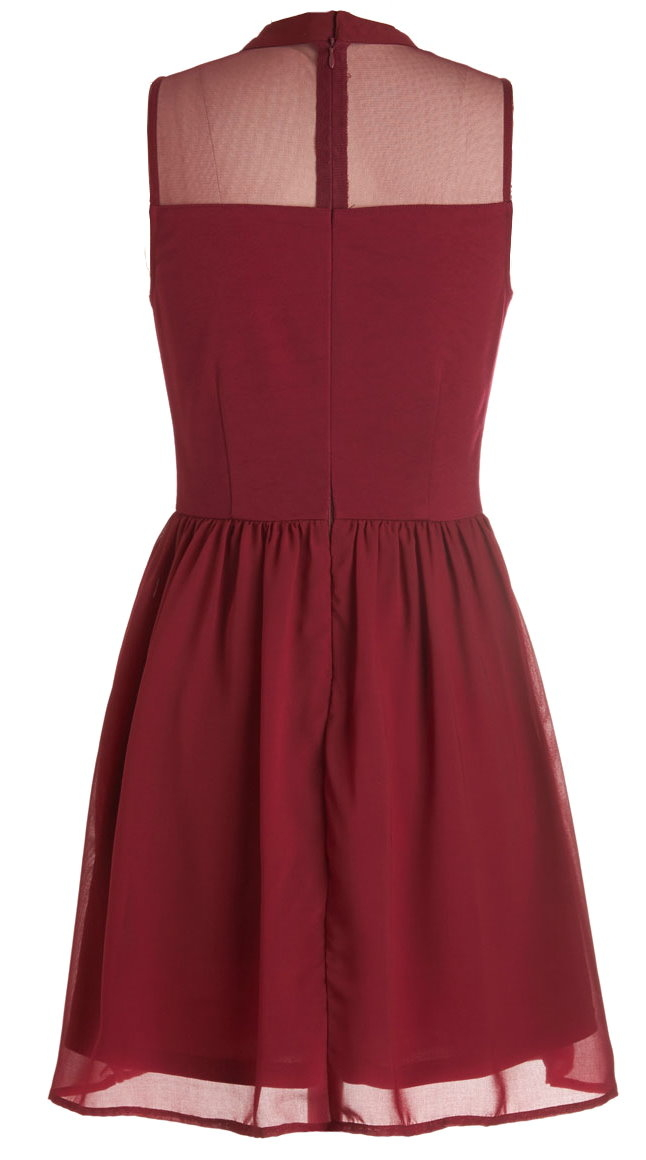 Maroon Red Chiffon Lace A-Line Dress