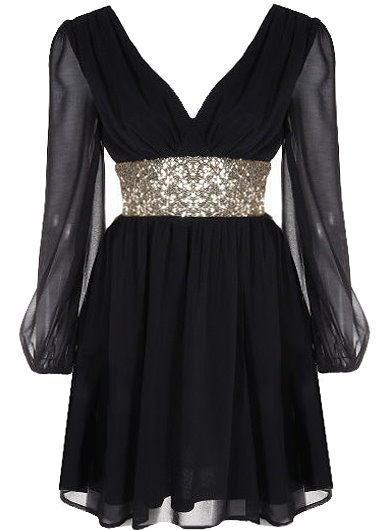Black Chiffon Gold Sequin Waist Long Sleeve Dress