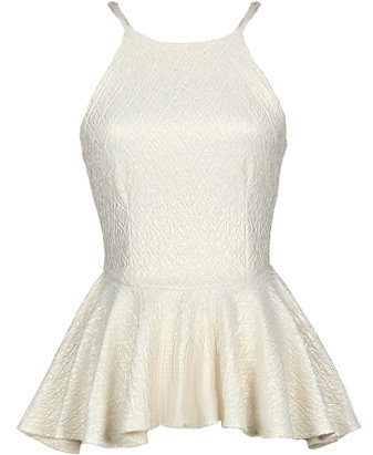 Metallic Ivory Peplum Juniors Top